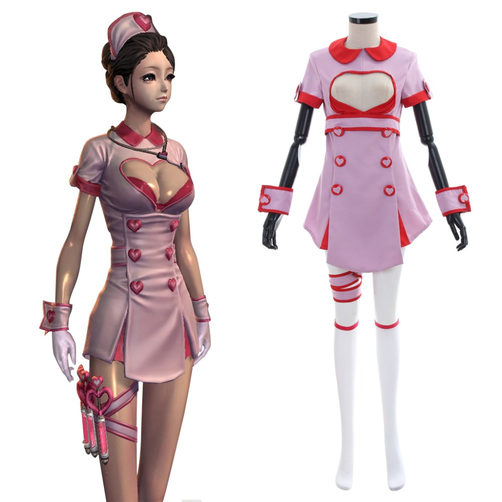 Game Blade Soul Sexy Nurse Uniform Cosplay Costume Women Battle Dress Halloween Carnival Outfit Costume With Hat Custom Made