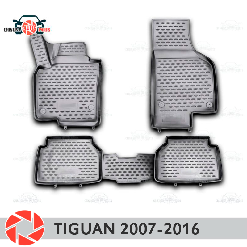 For Volkswagen Tiguan 2007-2016 floor mats rugs non slip polyurethane dirt protection interior car styling accessories