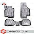 Para Volkswagen Tiguan 2007-2016 alfombras de piso antideslizantes poliuretano protección de suciedad accesorios de diseño de coche interior