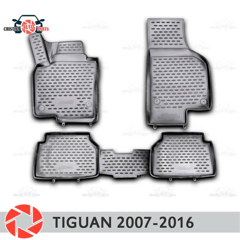 Para Volkswagen Tiguan 2007-2016 tapetes tapetes antiderrapante poliuretano proteção sujeira interior car styling acessórios