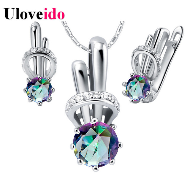 Uloveido Rainbow Rabbit Kids Jewelry Set Silver Color Wedding