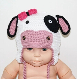 Handmade Baby Hat Fashion Soft Warm Newborn Kids Dairy Cow Hat Winter Cute Cartoon Crochet Knitted Beanies Cap Baby Photo Props