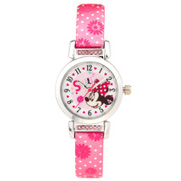 Disney Brand Fashion Children Girls Mickey Mouse Sofia Princess Cartoon Watches Leather Quartz Students Number Waterproof