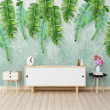 Nordic minimalist fresh green banana leaf watercolor style wall professional production wallpaper mural custom photo