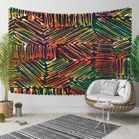 다른 오렌지 옐로우 그린 추상 라인 기하학적 3d 인쇄 장식 히피 보헤미안 벽 교수형 풍경 태피스 트리 벽 예술
