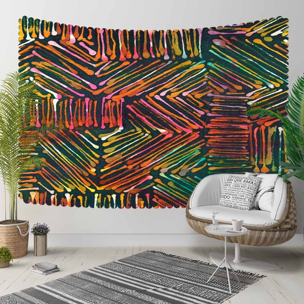 Else Orange Yellow Green Abstract Lines Geometric 3D Print Decorative Hippi Bohemian Wall Hanging Landscape Tapestry Wall Art