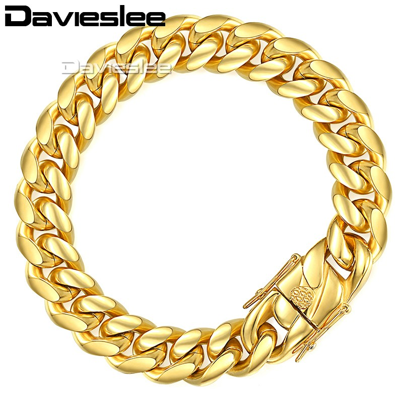 Davieslee Mens Bracelet Chain Miami Curb Cuban 316L Stainless Steel Hip Hop Silver Gold Color 8/12/14mm 9inch LHBM111 20mm heavy jewelry 316l stainless steel silver gold black cuban curb chain mens bracelet bangle 8 5 high quality male wristband