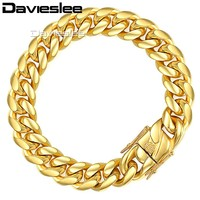 Davieslee Mens Bracelet Chain Miami Curb Cuban 316L Stainless Steel Hip Hop Silver Gold Color 8