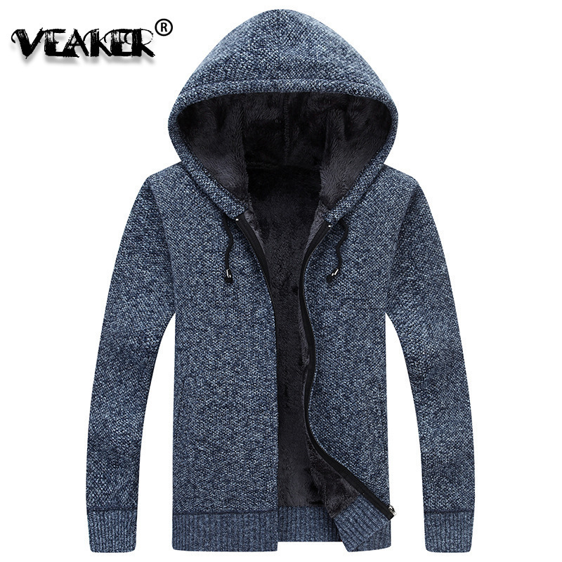 Coats Sweater Jacket Hooded Velvet Knitted Male Winter Mens Thick Fur Casual