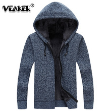 2018 New Mens Hooded Sweatercoat Winter Thick Velvet Fur Sweater Jacket Male Casual Sweater coats Knitted Hooded Sweatershirt