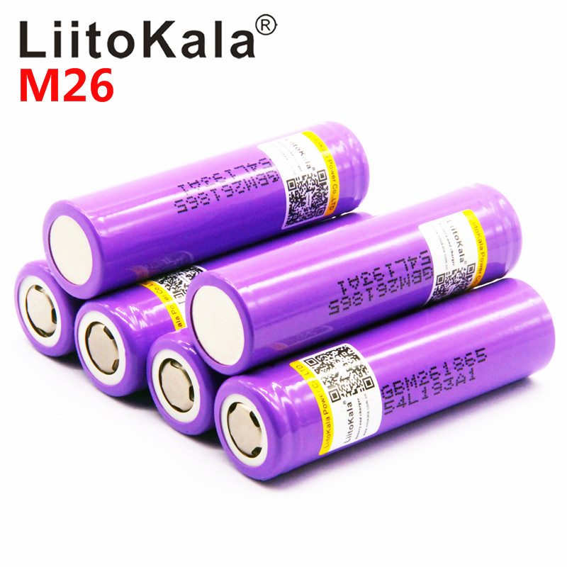 100% Original LiitoKala For  M26 18650 2600mah 10A 2500 Li-ion Rechargeable Battery Power Safe Battery For Ecig/scooter