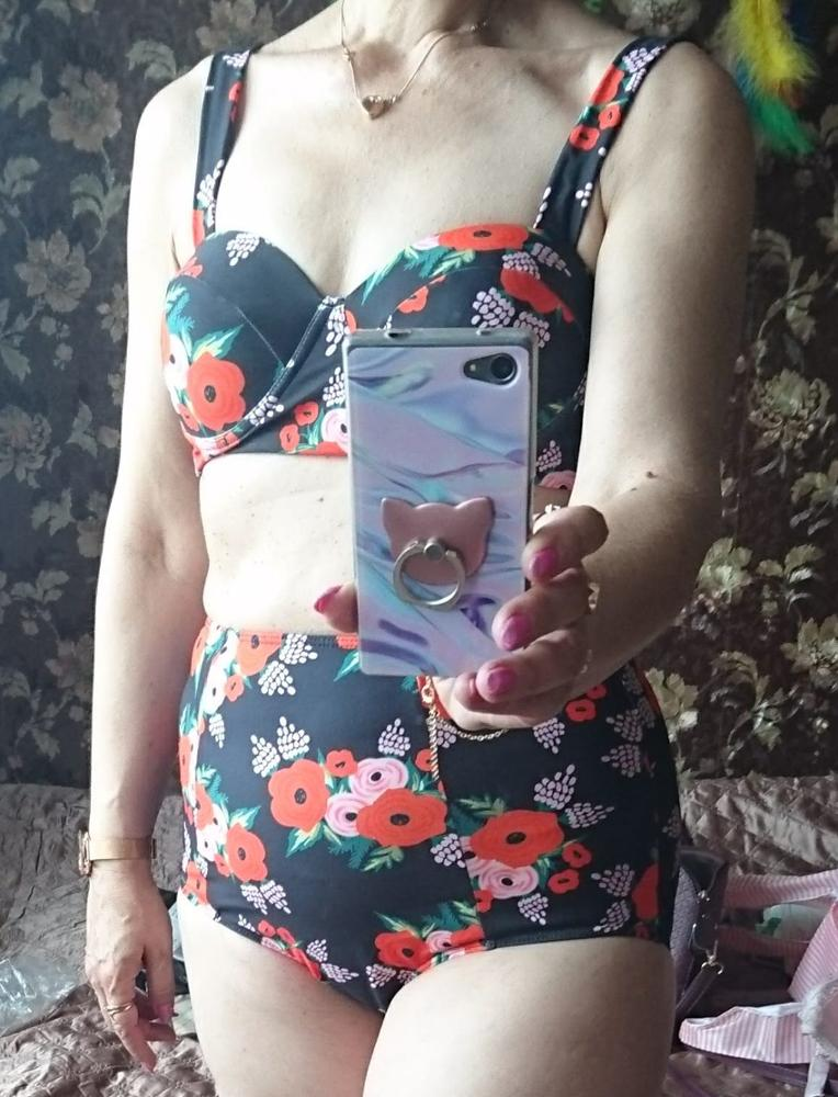39917945d3b2a Black & Red High Waist Vintage Floral Bikini Swimsuit – Kalyn & Co.