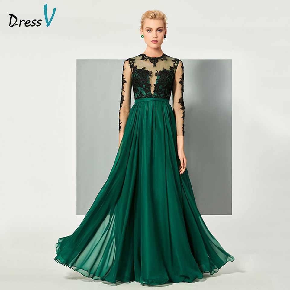 Dressv Hunter Green Elegant Long Sleeves Appliques Evening Dress A Line Wedding Party Formal Dress Button Evening Dresses