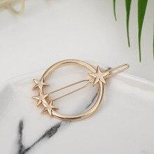 Metal Geometric Alloy Moon Circle Hairgrip