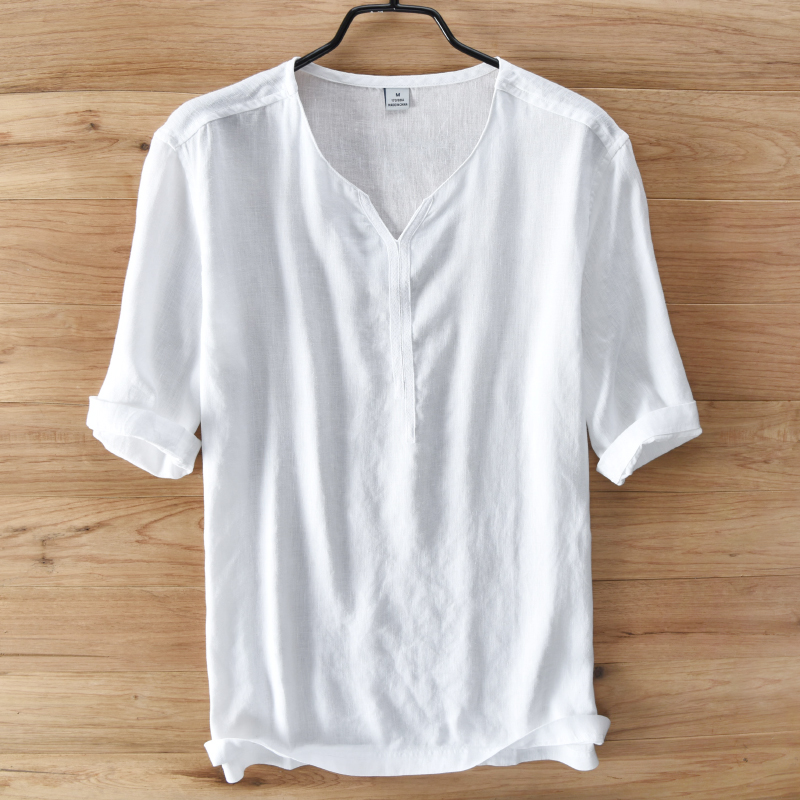 Pure flax short sleeve shirt male loose thin linen Chinese men's summer wind pure color v-neck hemp material and a half sleeve T