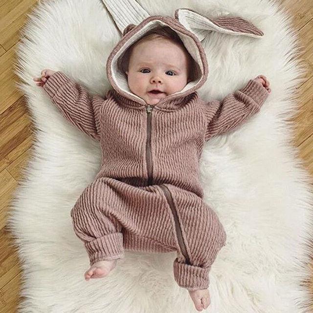 79b36796d4447 Adorable bebé recién nacido niño niña mameluco con capucha mono Orejas de  conejo con cremallera ropa