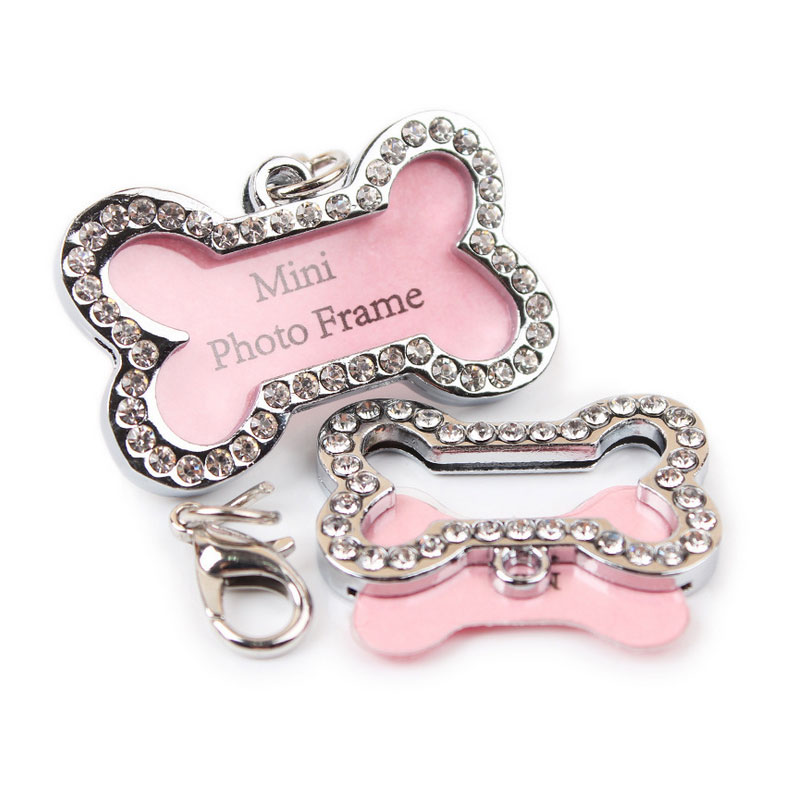 3.2x2cm  Top Advanced Shiny Diamond Popular Bone-shaped Cute Pet Name Card Pets Listing Pendant Best Gift For Cats Dogs