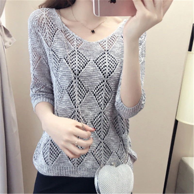 Knitted Pullover Summer Sweater Large-Sizes Fashion Women NEW B3988 Seven-Quarter-Sleeve