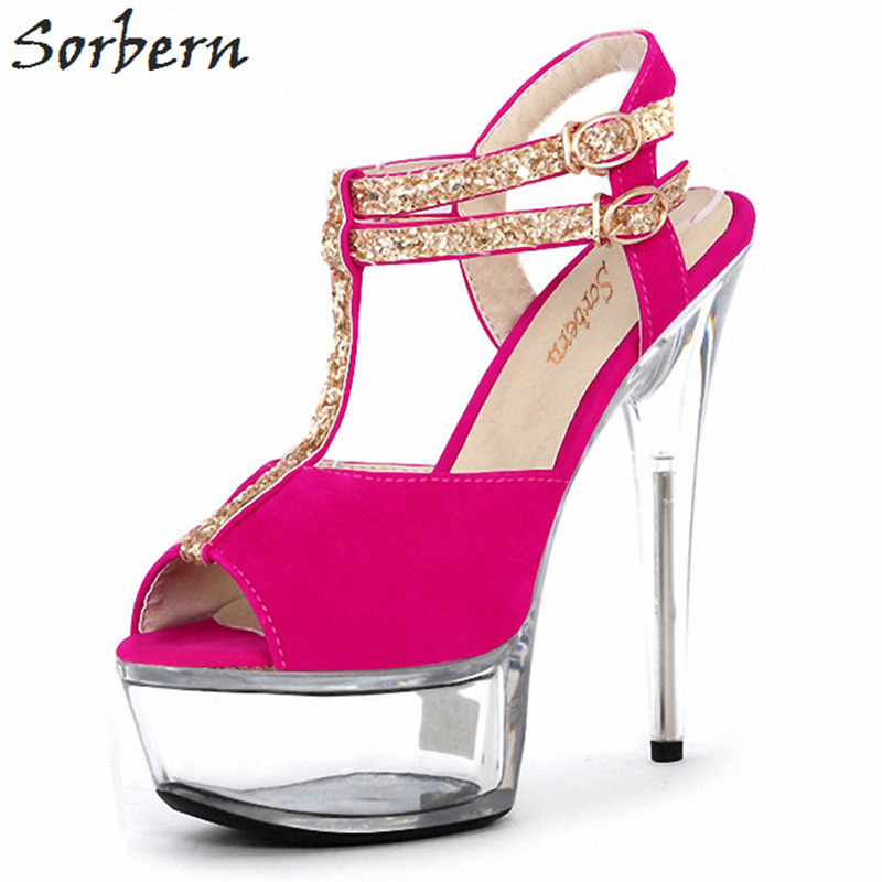 Sorbern 15Cm Colorful T-Strap Women Sandals Clear Heels Ladies Shoes With Heels Women Shoes Size 11 Stiletto High Heels New sorbern women sandals shoes real image pvc clear heels buckle strap 15cm heels crystal sandalias mujer 2018 summer shoes women