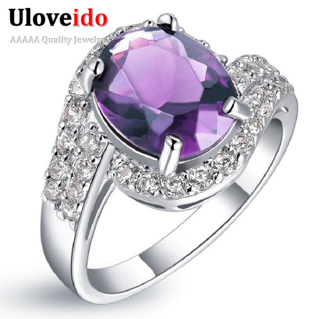 Uloveido Women's Rings with Stones Brincos Fantasy Joyas Engagement Vintage Ring Sale Vintage Anel Ring CZ Zircon Jewelry J334