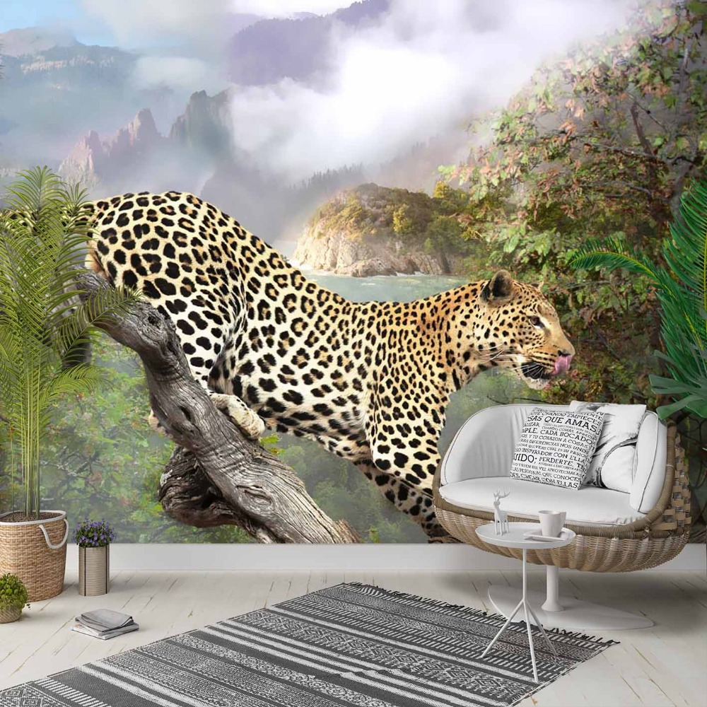 Else Green Jungle Wild Leopard Animal 3d Print Photo Cleanable Fabric Mural Home Decor Living Room Bedroom Background Wallpaper