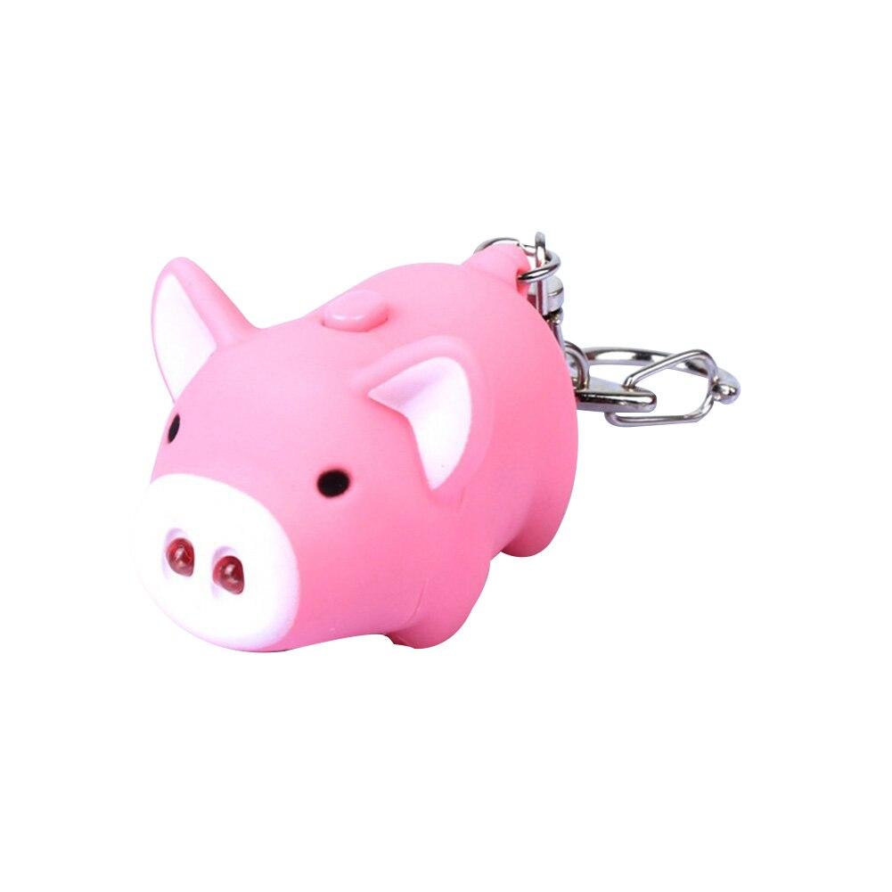 Cute Pig Style LED Light Sound Key Chain Keyring Car Bag Pendant Decoration Gift