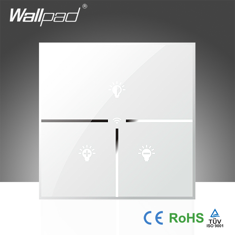 Best Sales Wallpad White Glass UK LED 110~250V Phone Wifi Electrical Remote Control Dimmer Wall Light Switch, Free Shipping dimmer switch wallpad luxury 110 250v brushed metal uk eu standard 1 500w rotray dimer dim lamp lightness control wall switch
