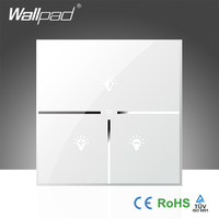 Best Sales Wallpad White Glass UK LED 110 250V Phone Wifi Electrical Remote Control Dimmer Wall