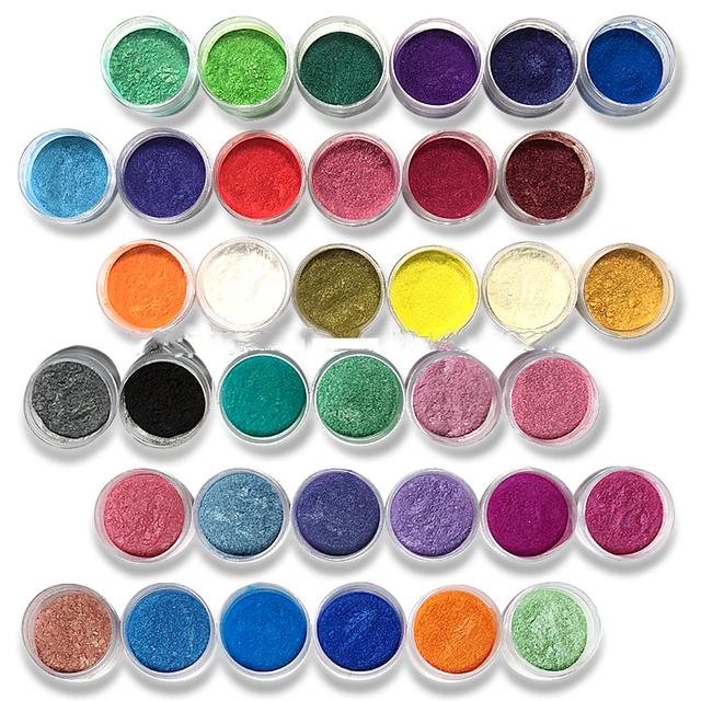10ML Mica cosmética pigmentos en polvo seguro de usar para pintalabios, maquillaje, sombra de ojos, jabón 54 colores pigmentos en polvo de perlas para Nail Art