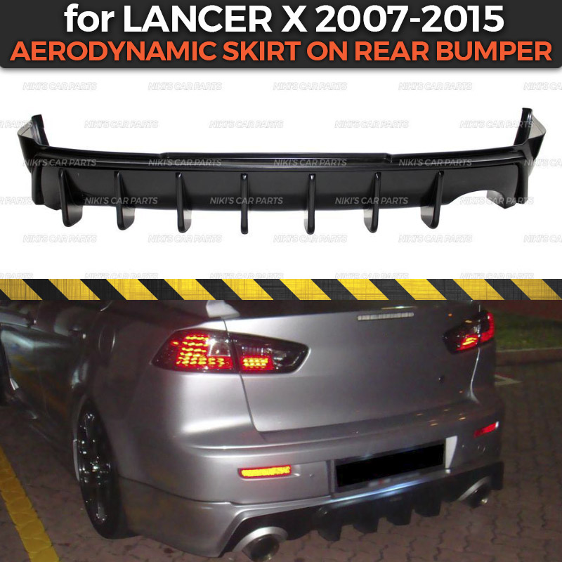 Aerodinamic skirt on rear bumper for Mitsubishi Lancer X 2007 2015 ABS plastic body kit aerodynamic