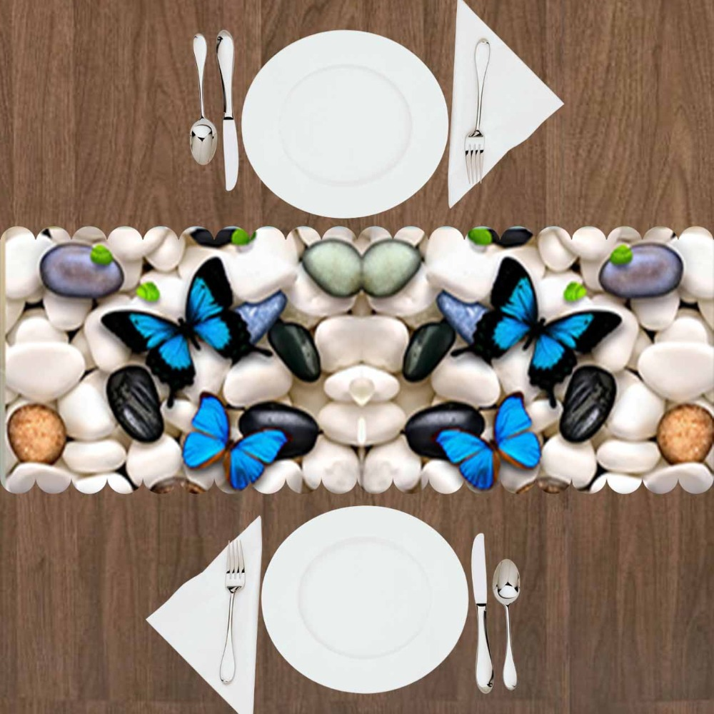 Else White Black Gray Pebble Stone Blue Butterfly 3d Print Pattern Modern Table Runner  For Kitchen Dining Room Tablecloth