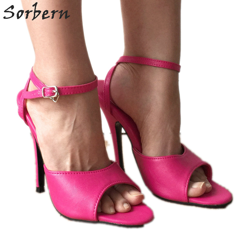 Sorbern 12Cm Cross Strap Women Sandals High Heels Peach Novelty Summer Shoes Custom Colors Stilettos Heeled Shoes Ladies Size 15 more colors custom handmade ivory lace wedding shoes for women high heeled size 9