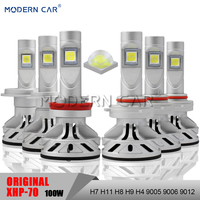 Modern Car XHP70 Chips Full 100W 12000LM LED Car Light Bulbs Headlight High Low H4 H11 H7 9005 9006 9012 Headlight Fog Lights