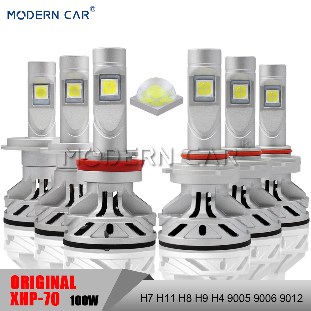 Moderne Voiture XHP70 Puces Plein 100 w 12000LM LED Voiture Ampoules Phare Haut Bas H4 H11 H7 9005 9006 9012 Phares Phares Antibrouillards