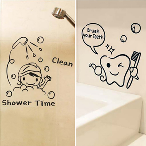 Cartoon Tooth Brush Your Teeth Shower Room Vinyl Sticker Murals Wall