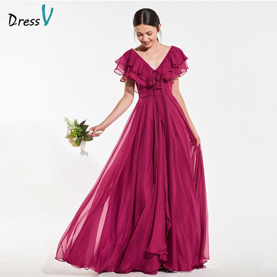Dressv elegant burgundy a line   bridesmaid     dress   sleeveless ruffles wedding party women floor length   bridesmaid     dress