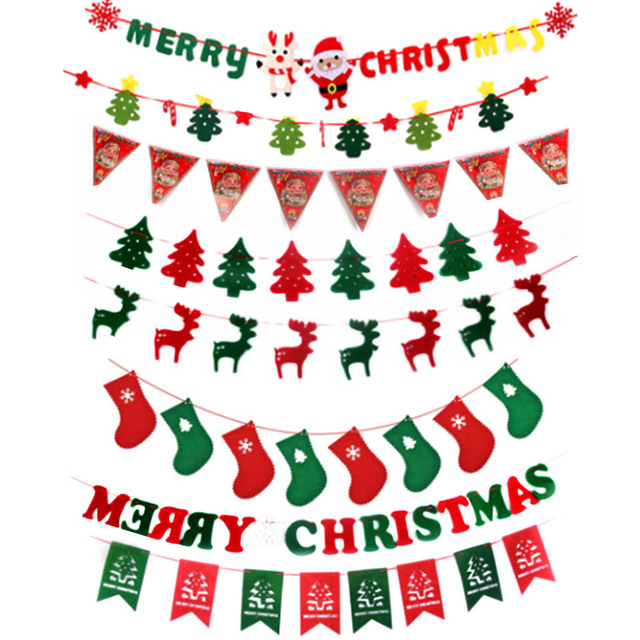 Christmas Hanging Decorations Pull Flags Pennant Diy Christmas Tree