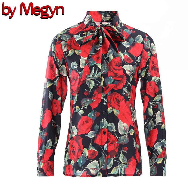 21953d10 women blouse 2019 office bow tie blouse red rose blouse ladies women's  elegant tops women blouse