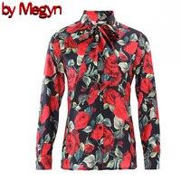 women blouse 2019 office bow tie blouse red rose blouse ladies women's elegant tops women blouse with bow flower print XXXL