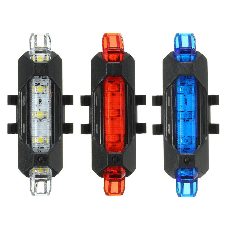 Mising 5PCS LED Safety Warning Bicycle Bike Light 15 lumens Cycling Caution Light Rechargeable Bicycle Front Lamp Flashlight