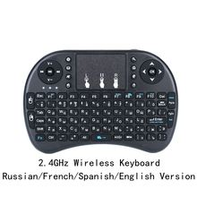 Free shipping Wireless Keyboard i8 Russia/English/Spanish Version 2.4GHz Air Mouse Teclado Touchpad Handheld for Android TV PC