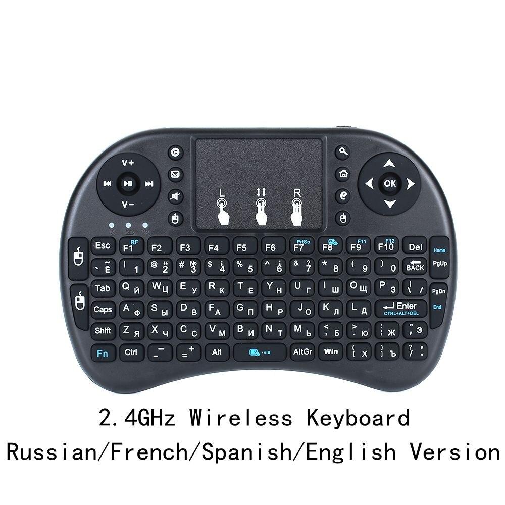 O envio gratuito de teclado sem fio i8 rússia/inglês/espanhol versão 2.4 ghz rato ar teclado touchpad portátil para android tv pc