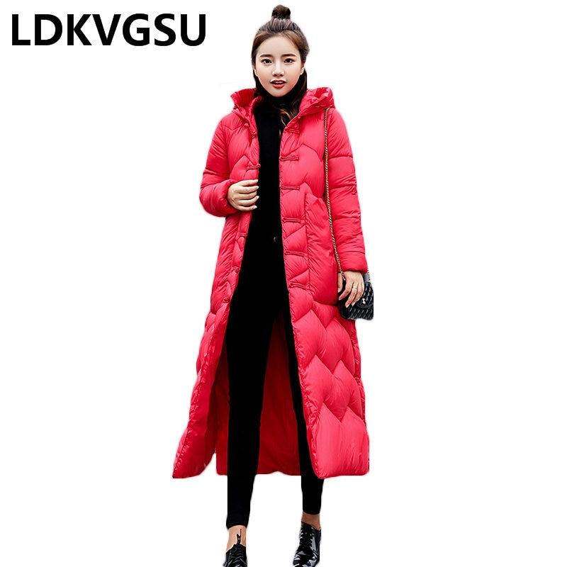 2018 hiver National vent femmes Long Parkas rétro disque boucle lâche grande taille épais chaud sur le genou bas coton manteau Is815