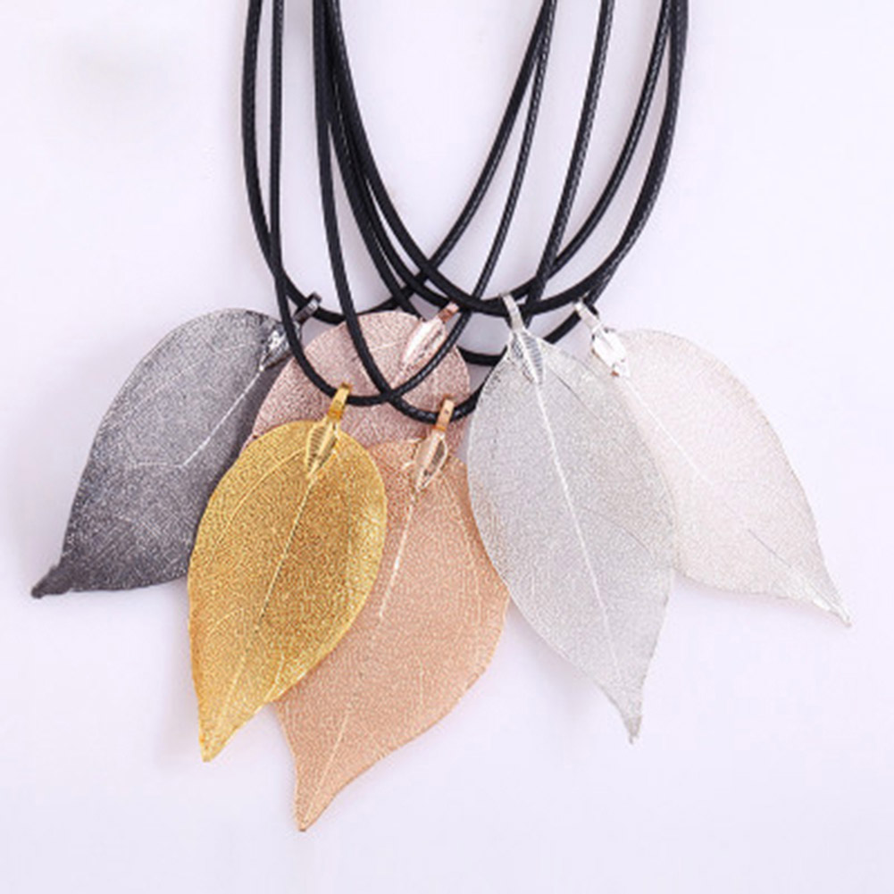 New Arrival Unique Plated Golden True Leaves Lone Natural Leaf Pendant Necklace for Women Fashion Plant Sweather Chain