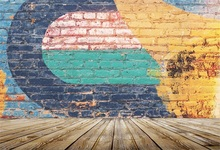 Laeacco Graffiti Brick Wall Wooden Floor Photography Backgrounds Customized Photographic Backdrops For Photo Studio