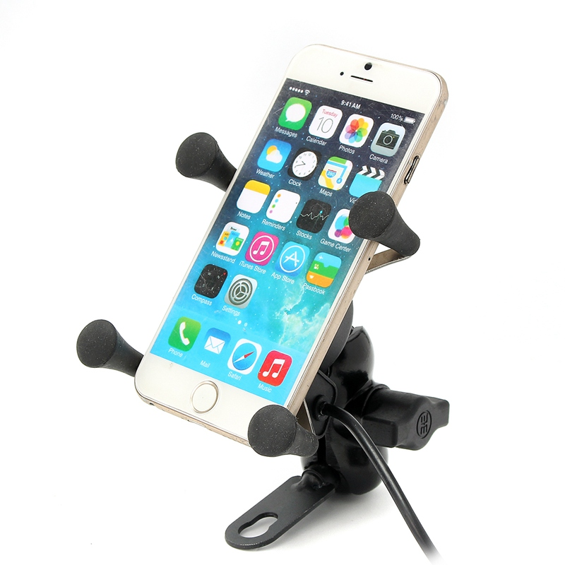 New Universal Multifunction Motorcycle Bike Bicycle <font><b>Handlebar</b></font> Holder USB Charger 3.5-6 Inch Cell Phone Mount Stand Fast Charging