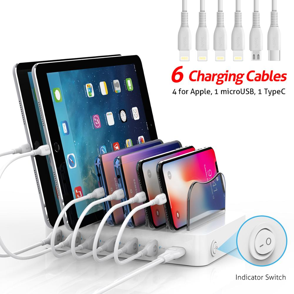 SooPii new 6 port usb charger 50W 10A charging station with 6 short cables