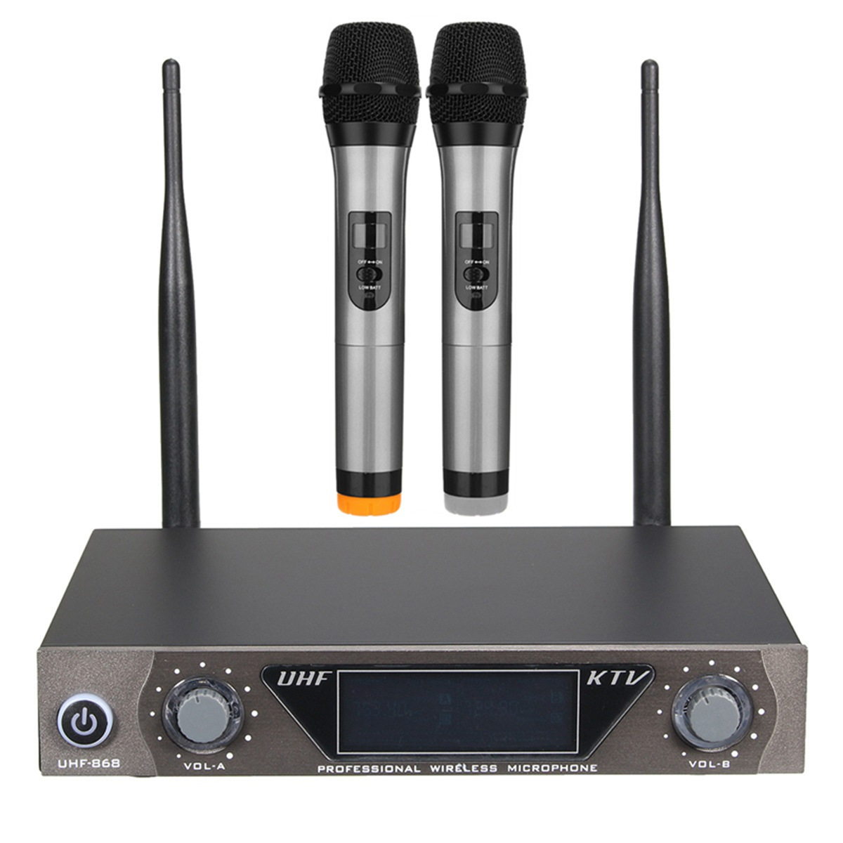 LEORY Wireless UHF 2 Channel Microphone System Cordless Twin Handheld Mic Transmitter Microphone Systerm for Karaoke KTV leory uhf wireless microphone system 4 channel uhf receiver karaoke microphone system with four mic for diy family ktv singing