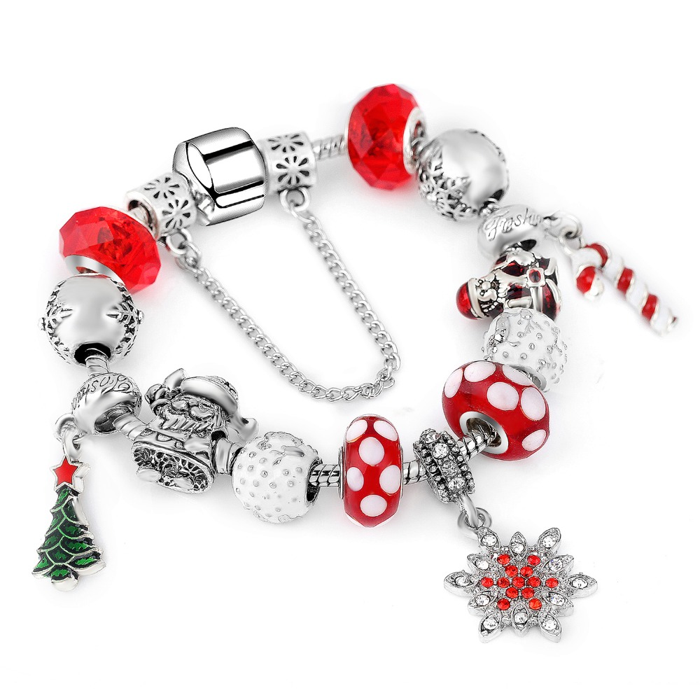 2018 Snowflake Charm Bracelet For Women DIY Crystal Beads fit Pa Bracelets & Bangles Jewelry Christmas Gift