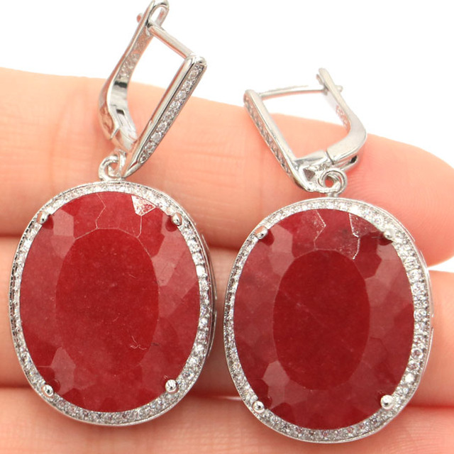 SheCrown Big Heavy 17.5g Oval 22x18mm Real Red Ruby White CZ Party Silver Earrings 40x20mm